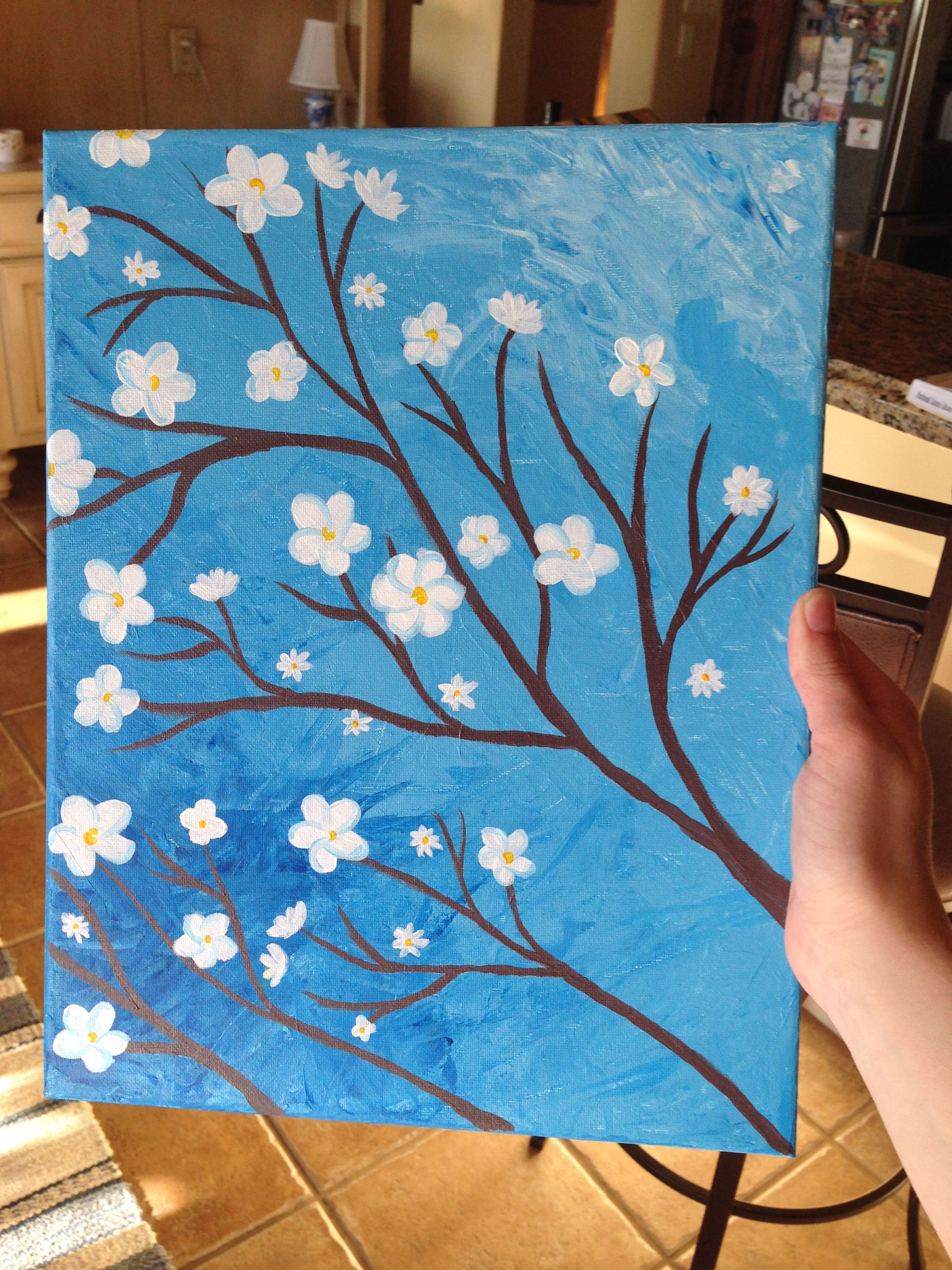 Palette Knife Background With Simple White Flowers
