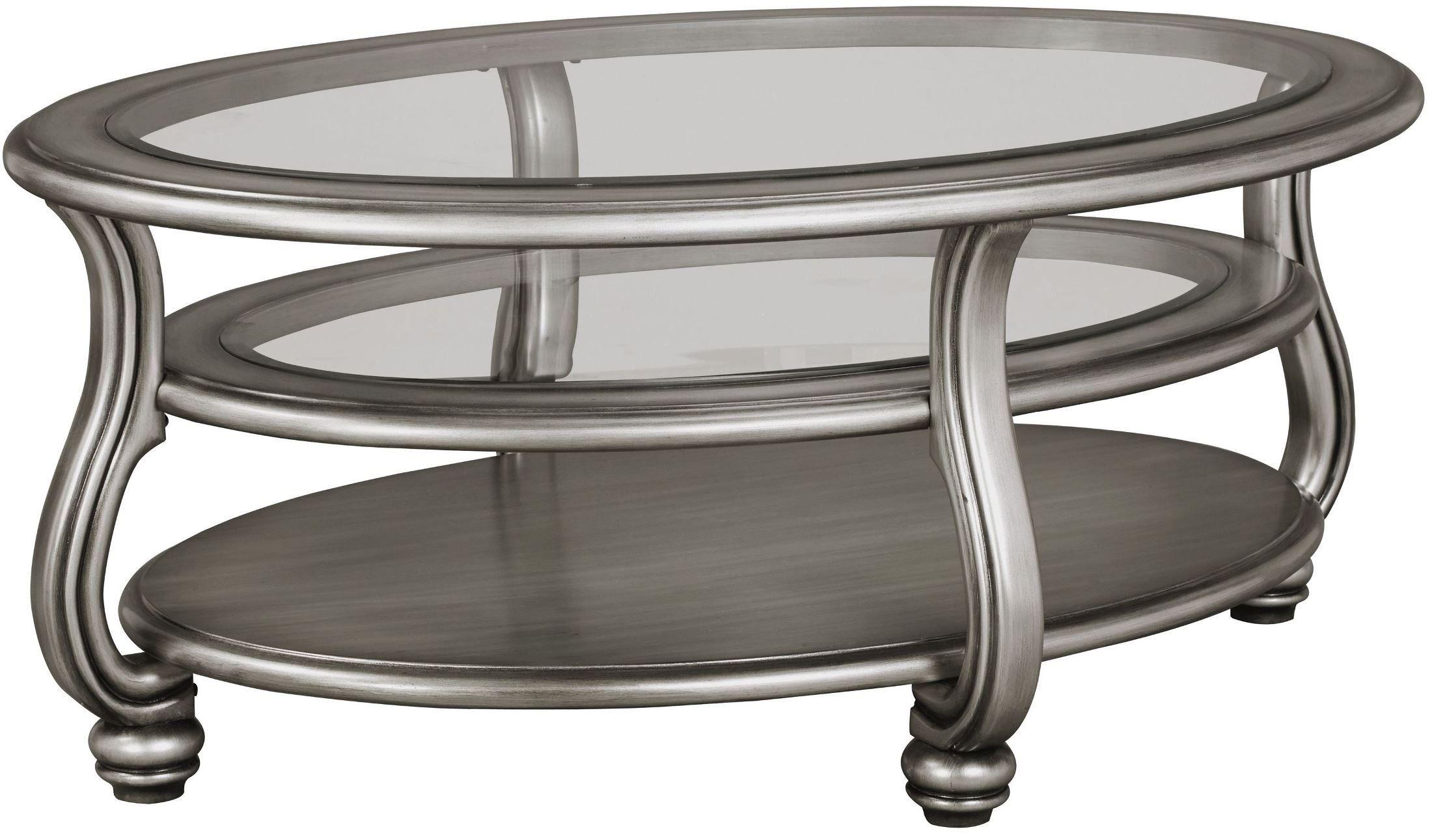 Coralayne Silver Oval Cocktail Table Овальные столики