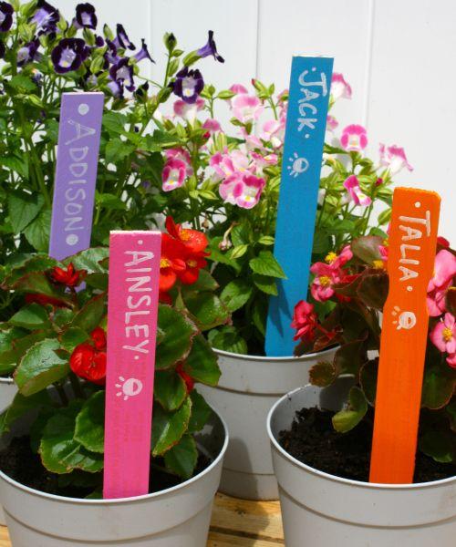 garden labels. Paint Stick Garden Labels Container