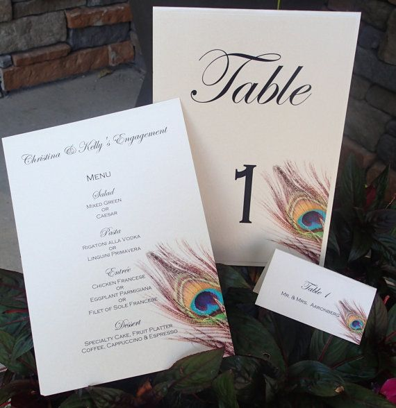 Peacock Table number, Feather Table number, Feather Menu, Peacock Feather escort card, feather placecard
