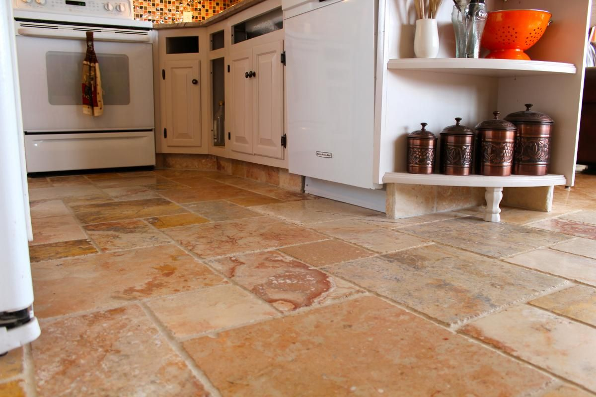 kitchen floor tile | marble kitchen floor and cabinet kicks | new