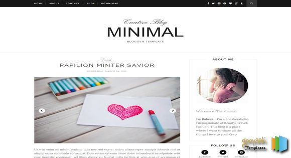 minimal clean blogger template free professional blogger template