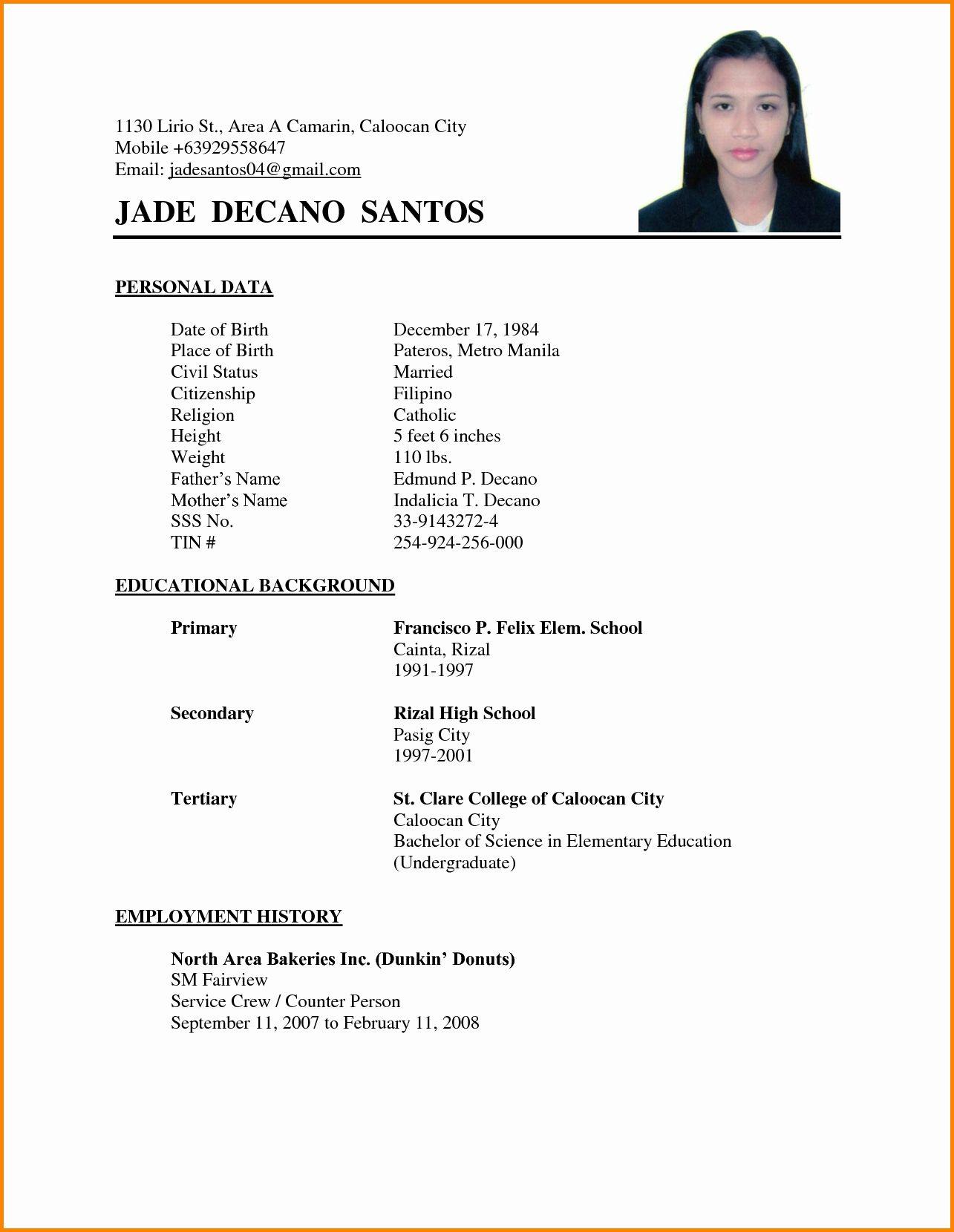 Samples Of A Basic Resume Elegant Resume Examples Philippines Resume Ixiplay Free Resume Sample In 2020 Sample Resume Format Simple Resume Format Basic Resume Examples