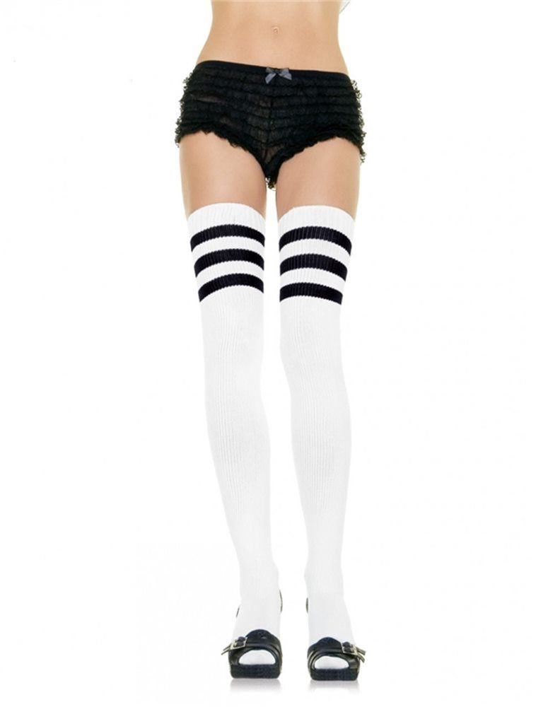 451c3689ae2 White Thigh High Socks with Black Stripes.Includes  One Pair of White Thigh  High