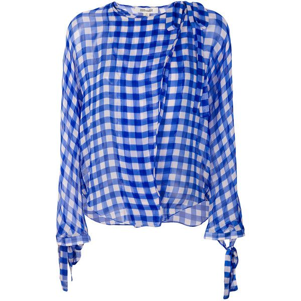 859e2f864d0d7f Dvf Diane Von Furstenberg checkered wrap shirt ($320) ❤ liked on Polyvore  featuring tops, blue, checked shirt, wrap tie shirt, tie top, blue  checkered ...