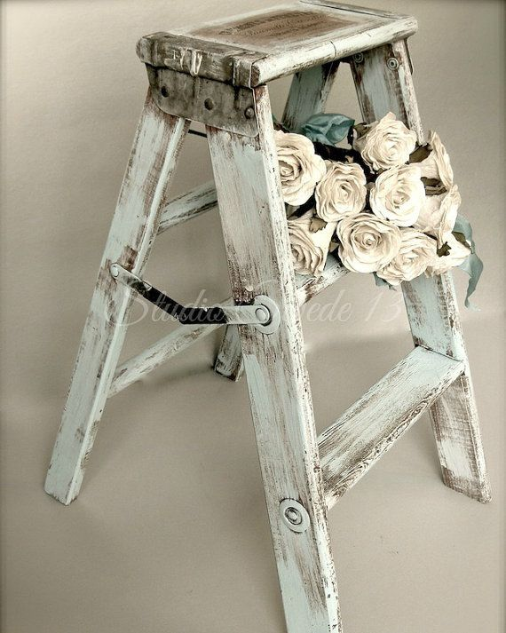 "Photo of Modern Farmhouse Art, Fixer Upper Style, French Country Photography, Rustic Old Step Stool Kitchen Art, Romantic White Roses-""Forget Me Not"""