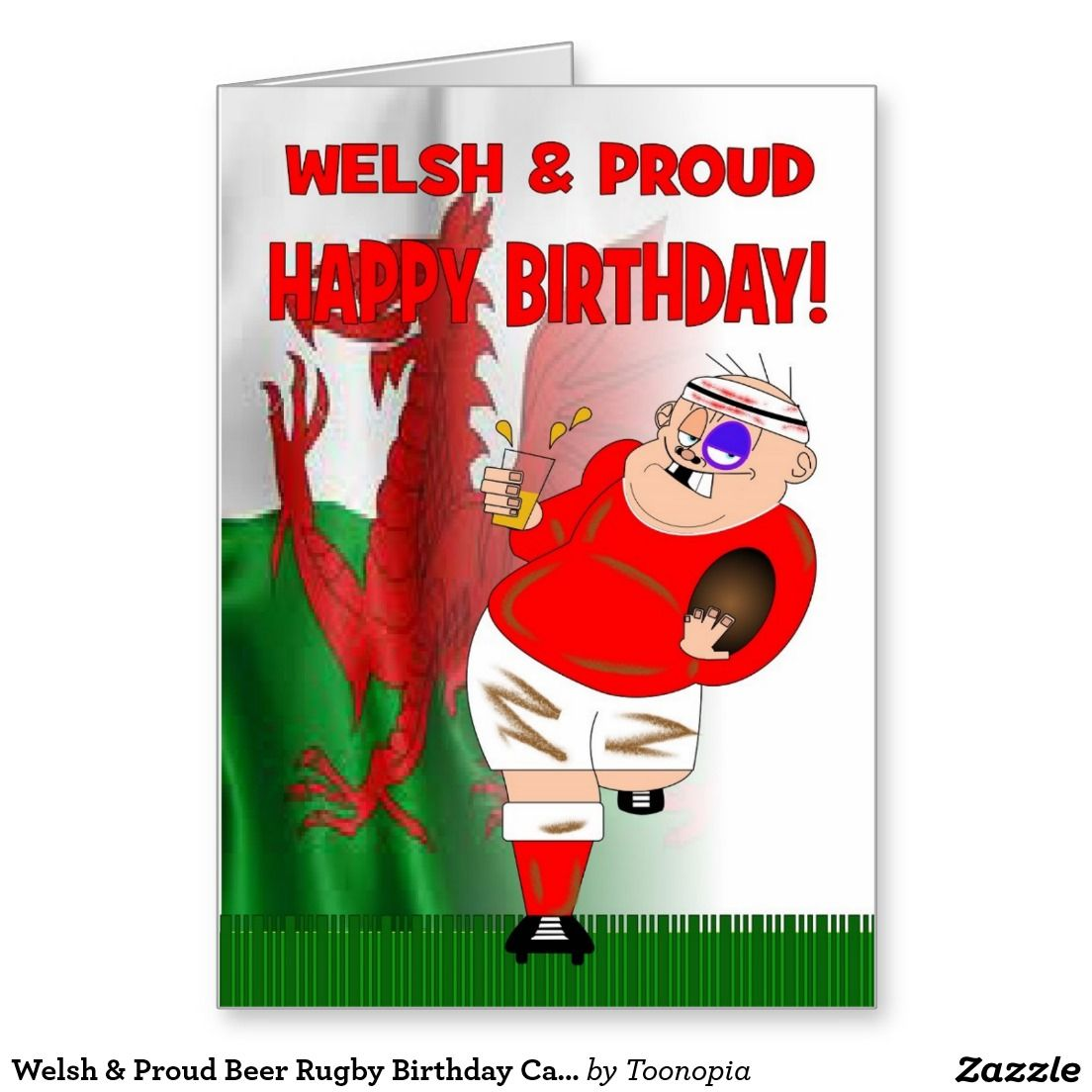 Welsh & Proud Beer Rugby Birthday Card Zazzle.co.uk