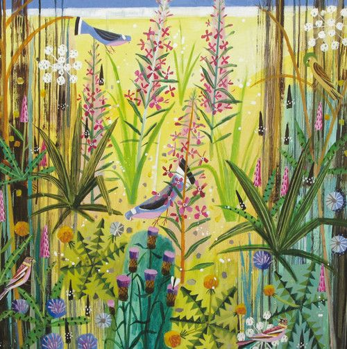 'Birds And Plants' By Artist Mary Sumner. Blank Art Cards By Green Pebble. www.greenpebble.co.uk