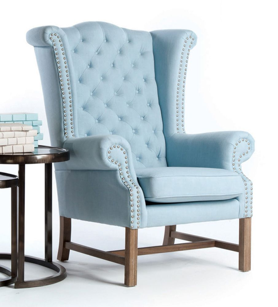 Best Brampton Sky Blue Cotton Tufted Lady S Wing Chair 640 x 480