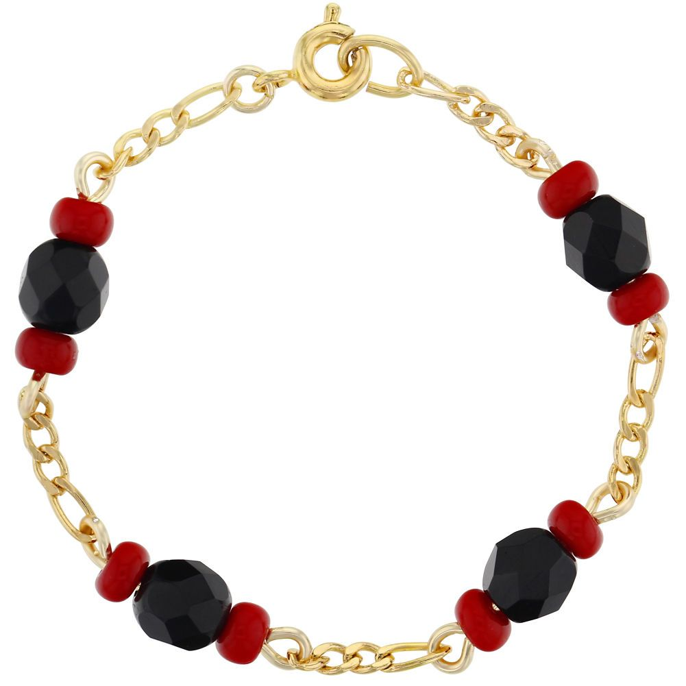 K gold plated baby toddlers simulated azabache bracelet evil eye