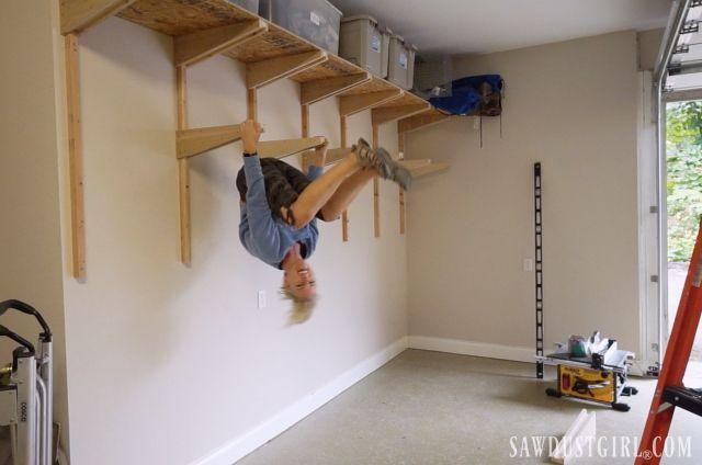 Building Garage Shelves Cantilevered Shelf Brackets Garage