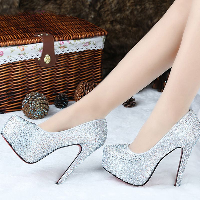 7746a7146 Barato 14 cm ultra de salto alto fechado toe strass sandálias plataforma  stiletto super sapatos de