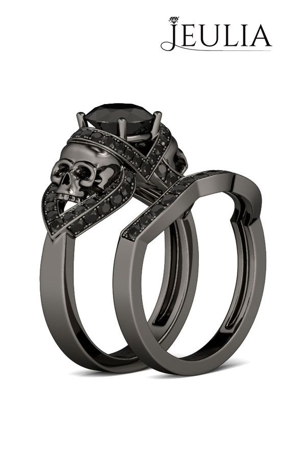 Black Gold Round Cut Created White Sapphire Rhodium Plating Sterling Silver Skull Ring	 #jeulia