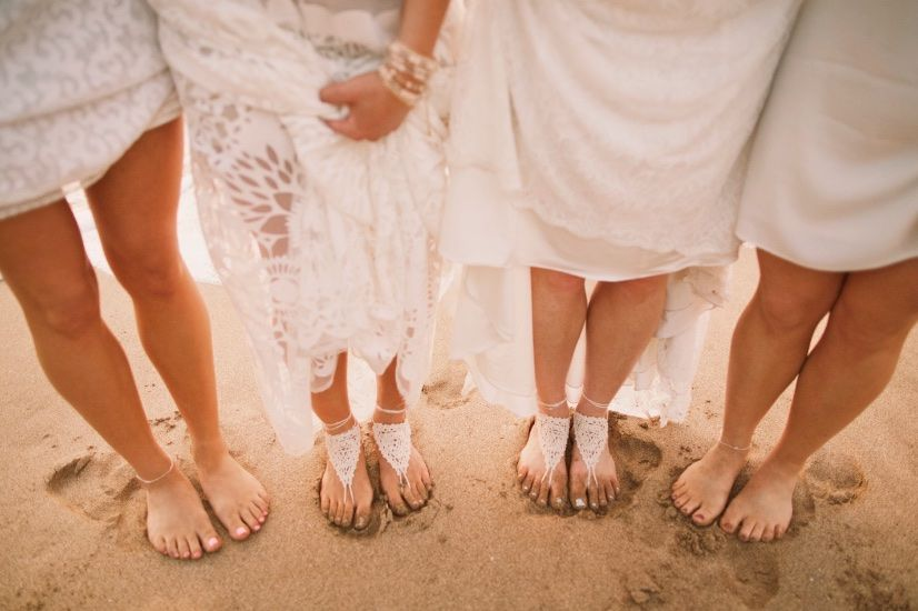 Barefoot Bride and Bridesmaids- Maui beach wedding