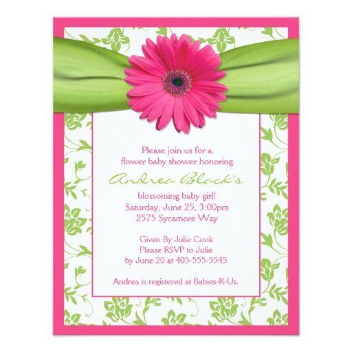 Pink Green Gerbera Daisy Baby Shower Invitation Pinterest