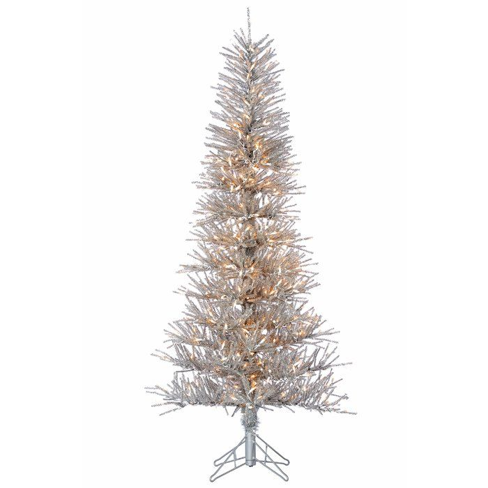 Silver Artificial Christmas Tree with Clear Lights with Stand
