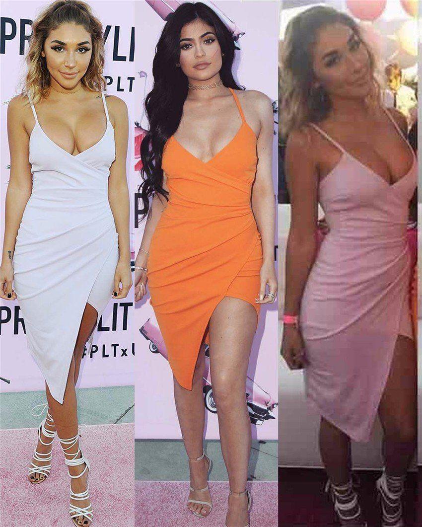 a902e856c3e8 Kylie Jenner Wrap Front Bodycon Mini Dress