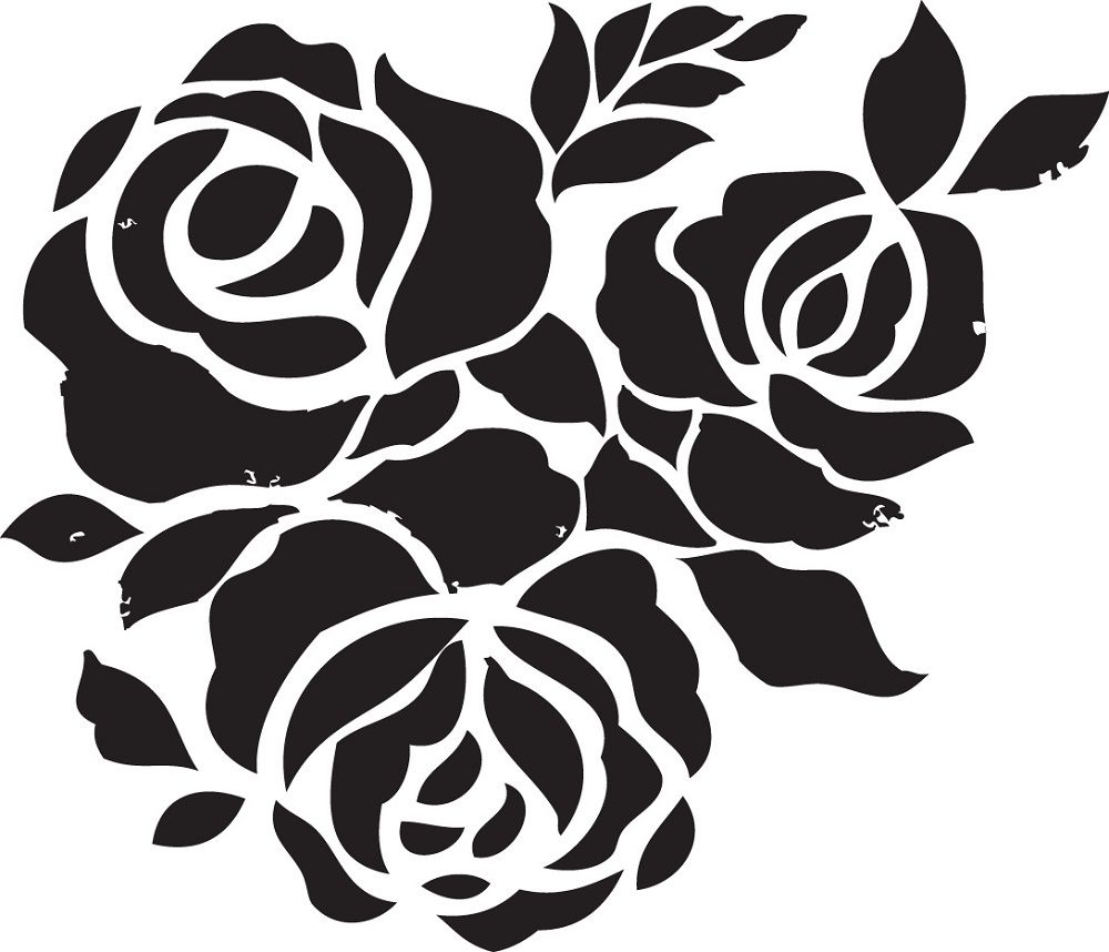 Rose flower stencils printable for decoration activity shelter free printable stencils for painting t shirt amipublicfo Images
