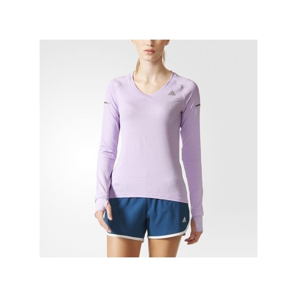 adidas Go-to Gear Tee MULTI ($40) ❤ liked on Polyvore featuring activewear, activewear tops, red, v neck long sleeve shirt, extra long sleeve shirts, purple v neck shirt, longsleeve shirt and v neck shirts