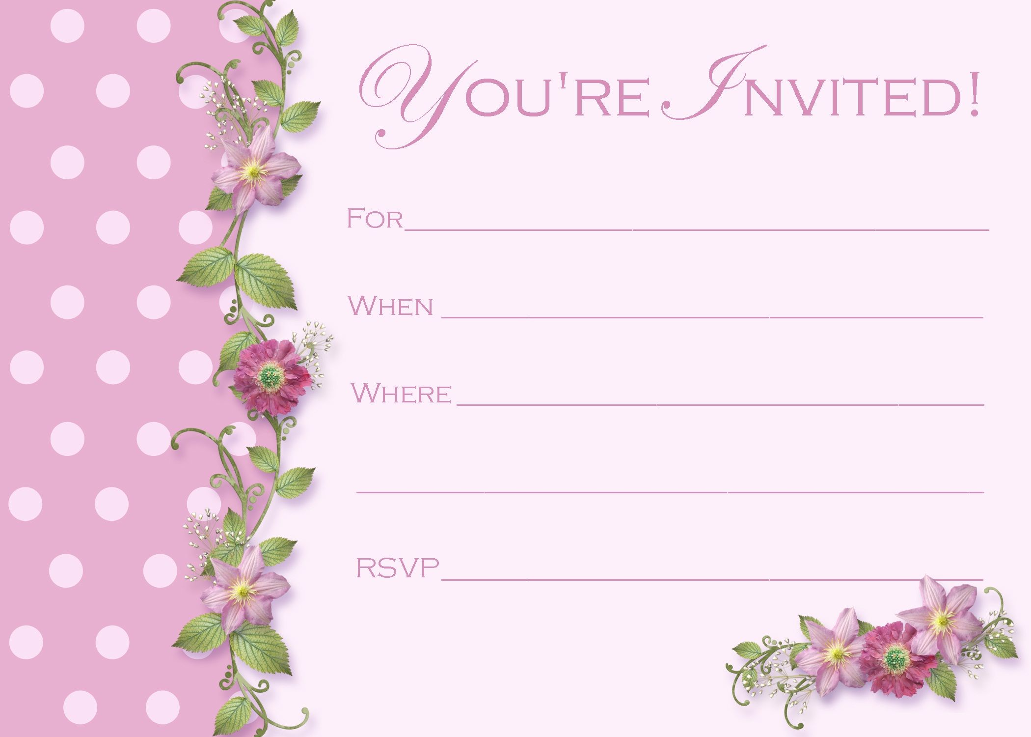 Dinner Invitation Template Blank