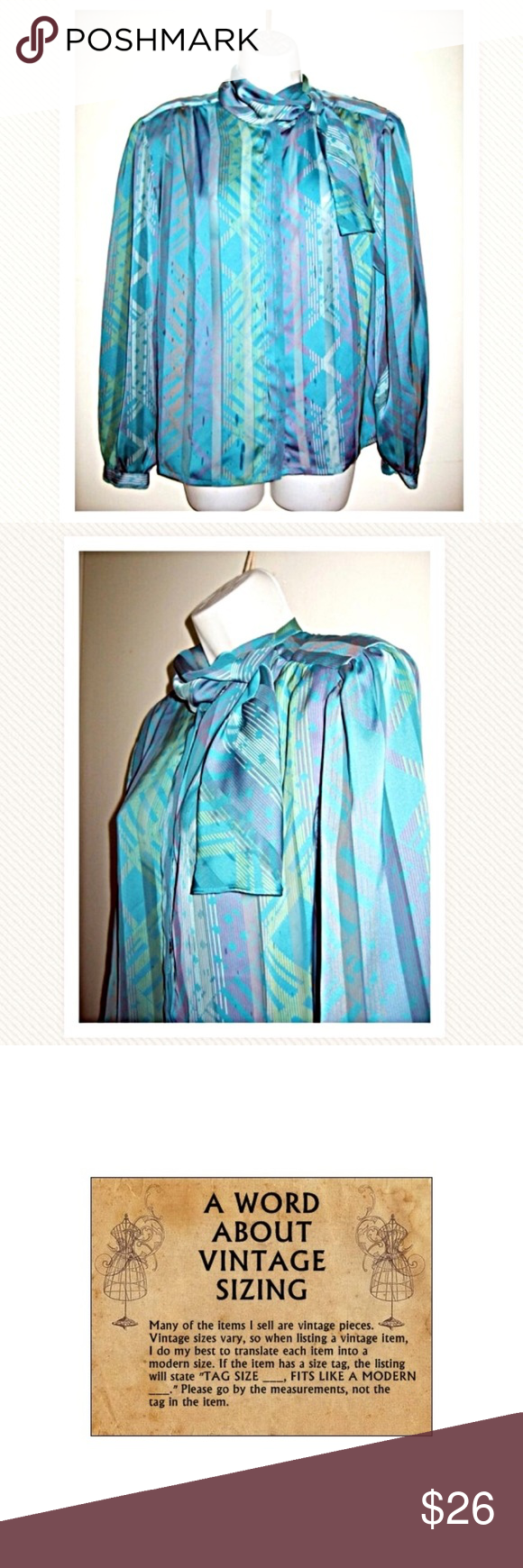 VTG 70s High Collar Bow Secretary Blouse Aqua L Gorgeous NICOLA high collar bow blouse.  Polyester chiffon in a pretty aqua/turquoise stripe.  Unique half bow at neck. Concealed button front.  Small shoulder pads, and slightly puffed sleeves.   Tag size 14. Fits like a L  Bust: 42