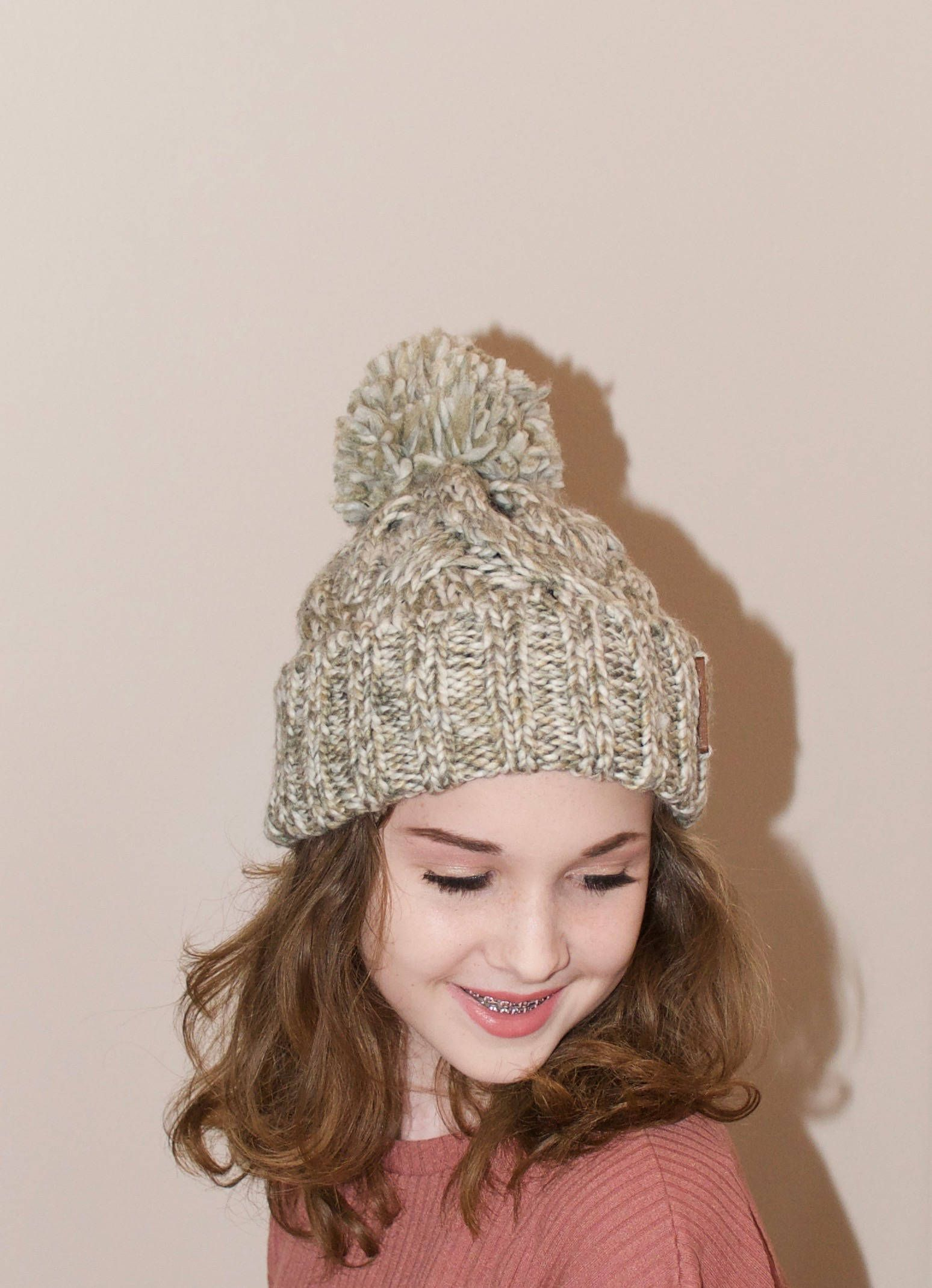 7d5a4b4a716 Pom Pom Beanie Chunky Beanie Hat Winter Hat Teen Girl Hat Ski Hat CHOOSE  COLOR Pumpkin Spice Gray Beanie Teen Girl Christmas Gift under 50 by  lucymir on ...