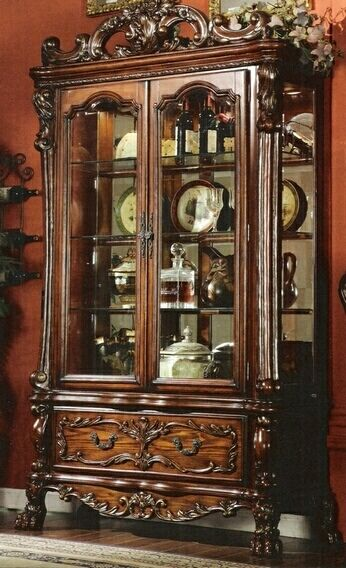 Acme 12158 Dresden Cherry Oak Finish Wood Curio Cabinet China