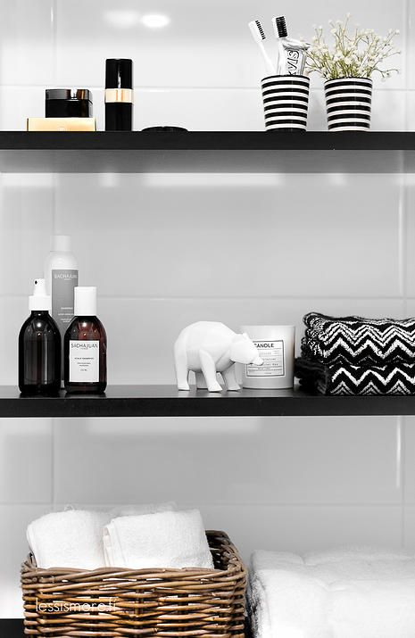 Bathroom shelf styling. Black, white, glass, ceramics, basketware ...