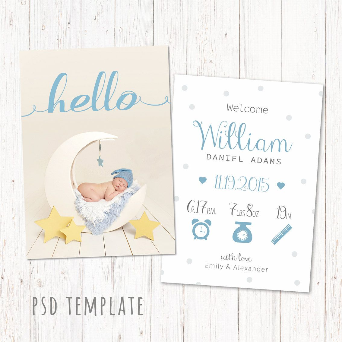 Birth Announcement Template Card Digital Baby Boy Birth Card For