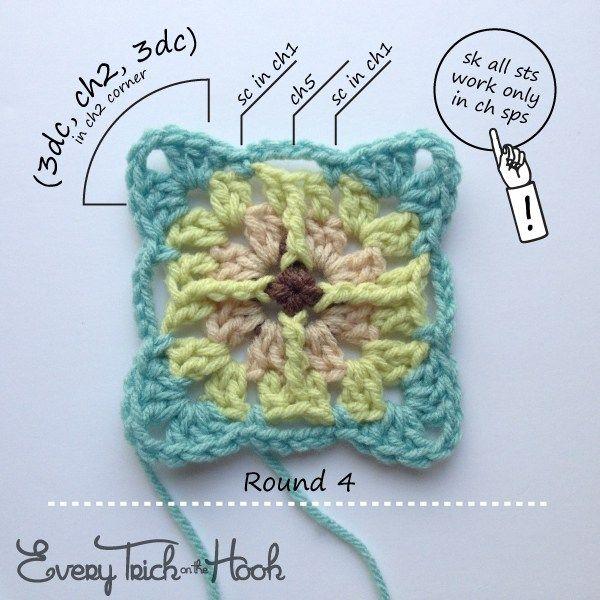 Victor, patrón de crochet, la ronda 4 | motivos unidos | Pinterest ...