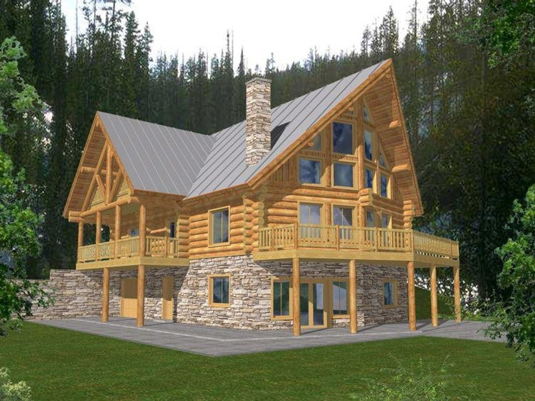 Home Plan 001 1050 Rendering In 2020 Log Cabin House Plans Log Cabin Floor Plans A Frame House Plans