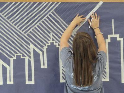 City masking tape mural, the Art of South Brunswick high
