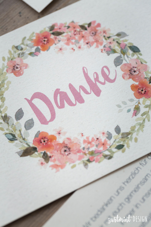 Danksagungskarten Hochzeit mit Blumenkranz auf Naturpapier 3