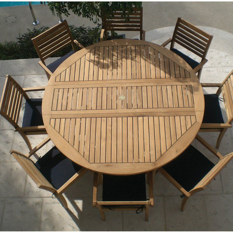Outdoor Royal Teak 72 In Round Dropleaf Avant Patio Dining Set Seats 8 Rtk103