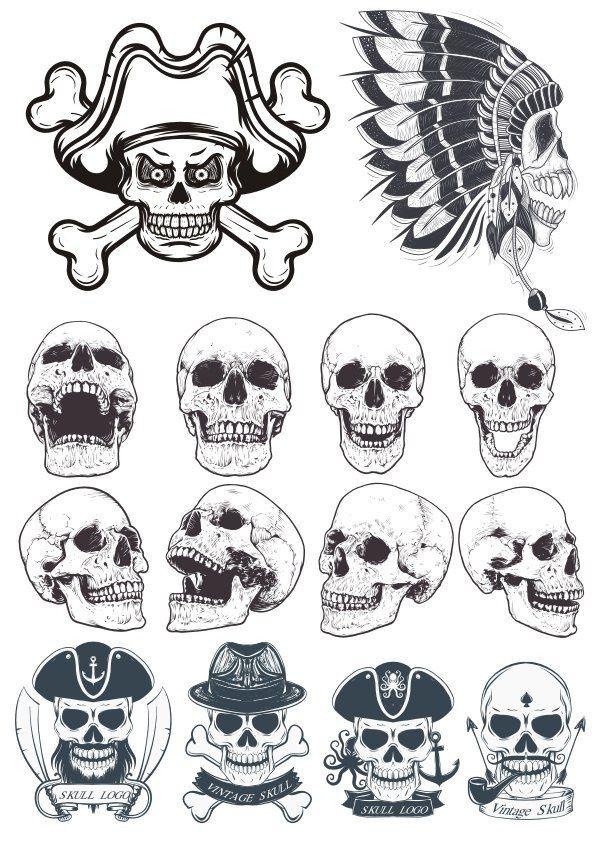Skull Vectors Collection Free Vector Cdr Download 3axis Co Vector Art Arrow Tattoo Design Skull