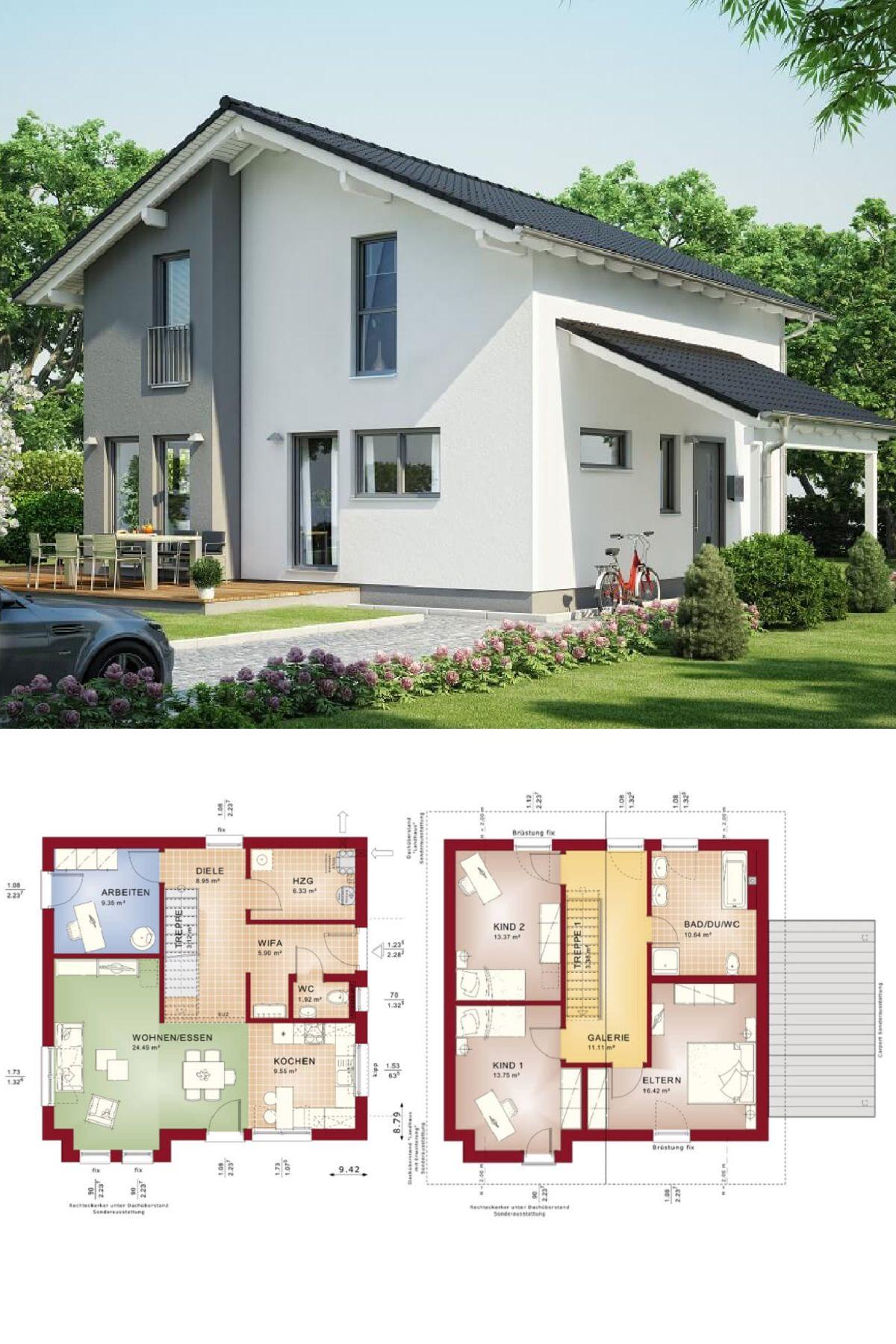 einfamilienhaus mit satteldach haus evolution 136 v7 bien zenker fertighaus grundriss mit. Black Bedroom Furniture Sets. Home Design Ideas