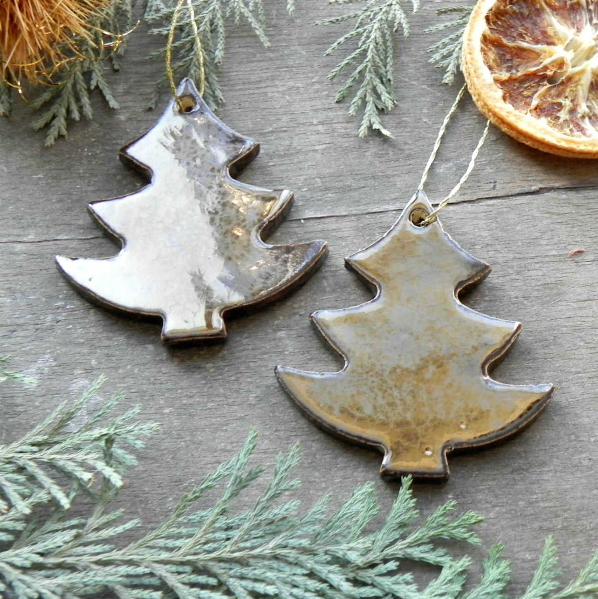 Metal Gold Christmas Tree Ornament Set Ceramic Home Decoration Pottery Gift Old Metal Gold Modern Christmas Decor Ceramic Ornaments Pottery Gifts Modern Christmas Decor Christmas Tree Ornaments
