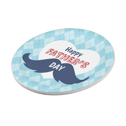 Happy Father\u0027s Day Mustache and Heart Paper Plate  sc 1 st  Pinterest & Father\u0027s Day Mustache and Heart Paper Plate