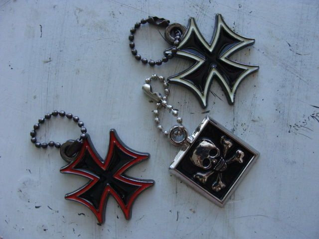 "Steady Charms Vintage Zipper Pull 1"" Metal Iron Cross Pattee Skull Keychain #Steady"