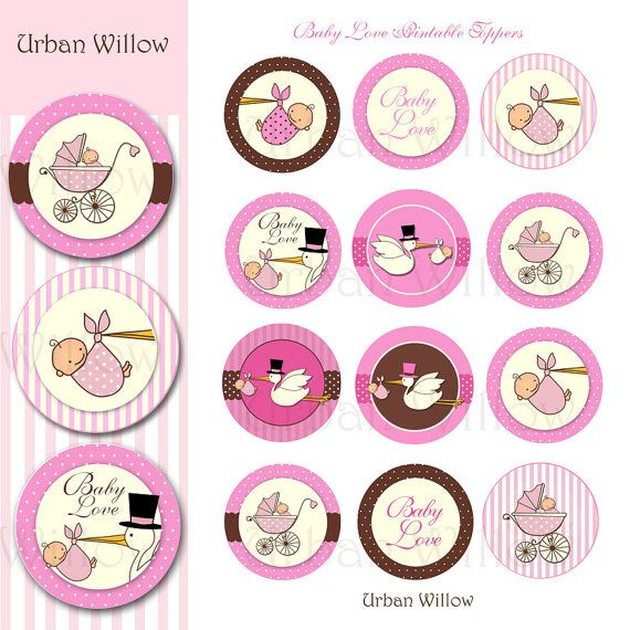 Stork Cupcake Toppers Pink Printables Toppers Cupcake Toppers New Baby Baby Shower Printables