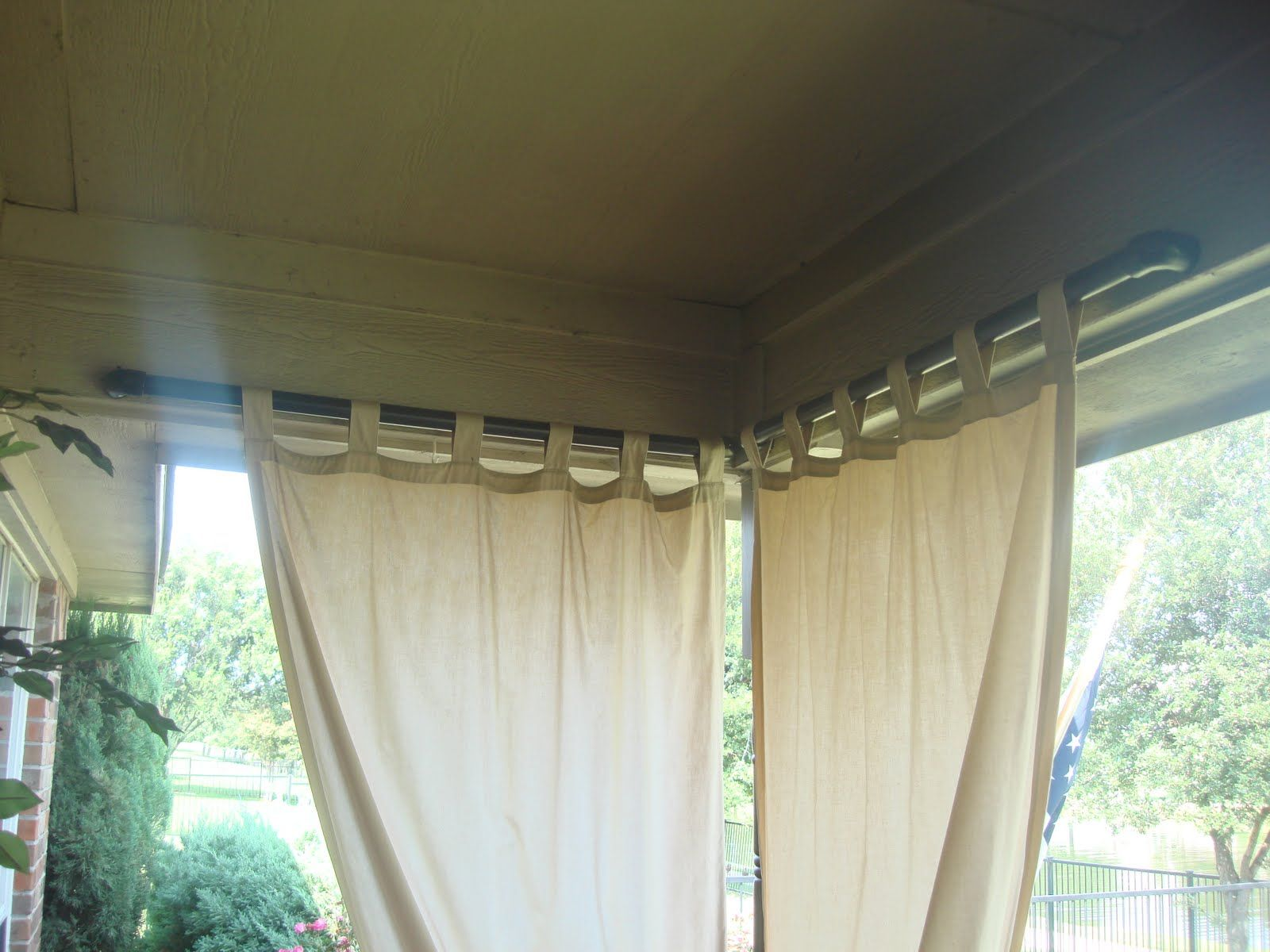 Outdoor curtain rod ideas - Paint Pvc Pipe Black For Outdoor Curtain Rod A Slot Was Cut Into The Top