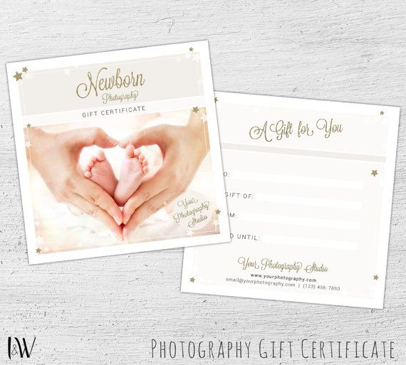 Photography Gift Certificate, Photoshop Template for Photographers - gift card template
