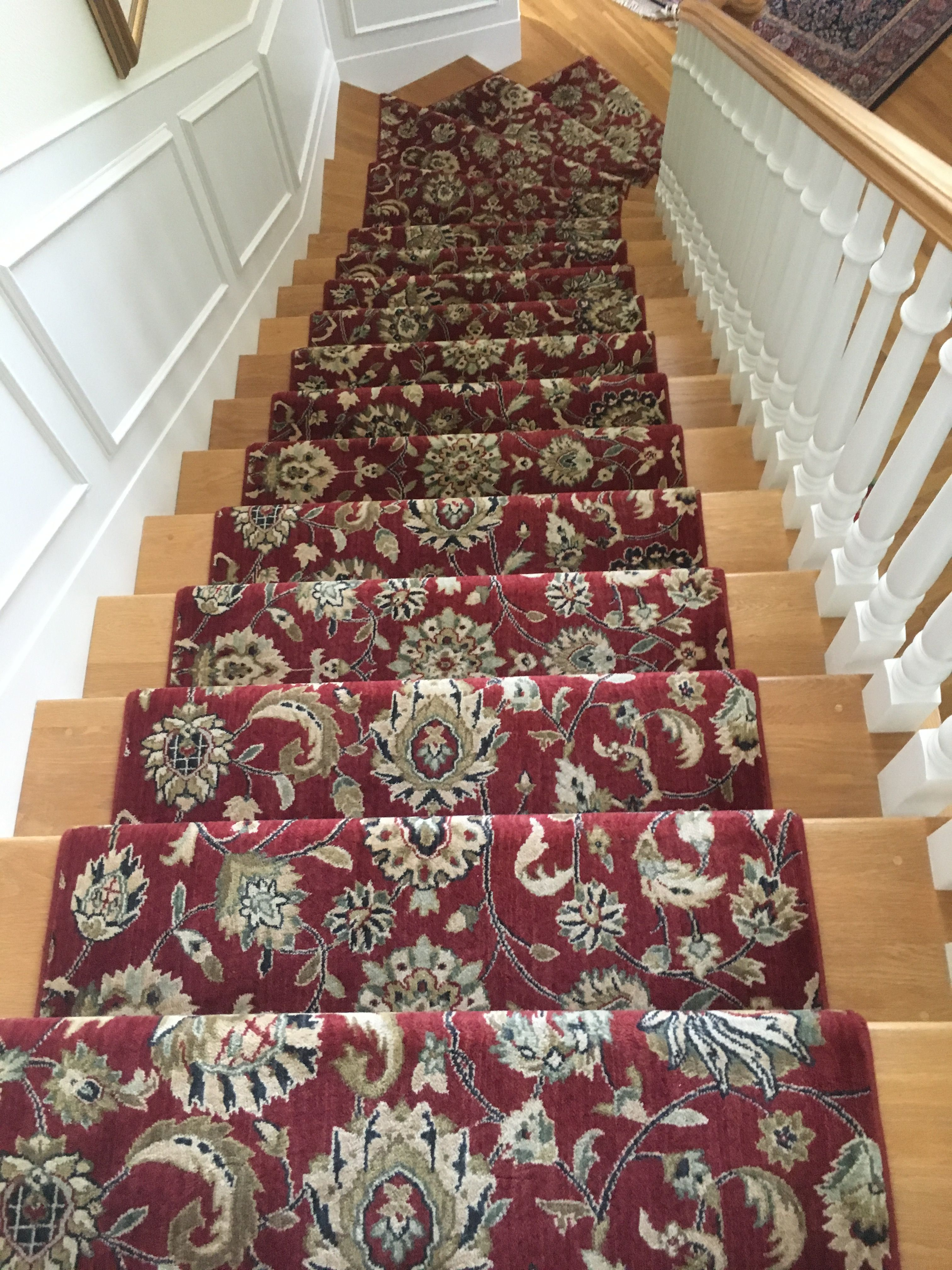 nourison kashan broadloom wall to wall carpet fabricated into a stair runner for a client in