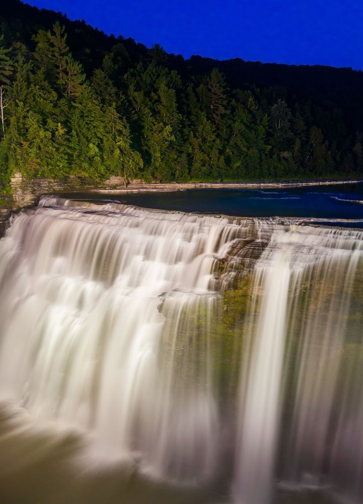 Middle falls at night letchworth state park newyork