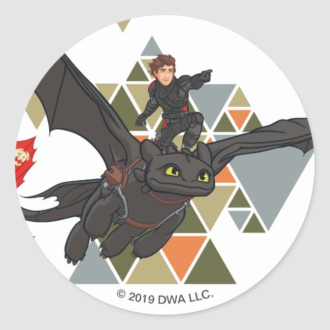 The Hidden World  Hiccup On Toothless Back Classic Round Sticker