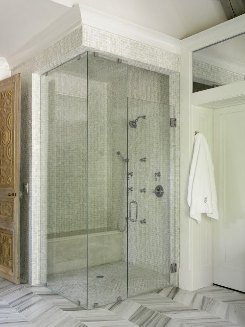 Suzie: Liz Williams Interiors - Corner seamless glass shower with ...