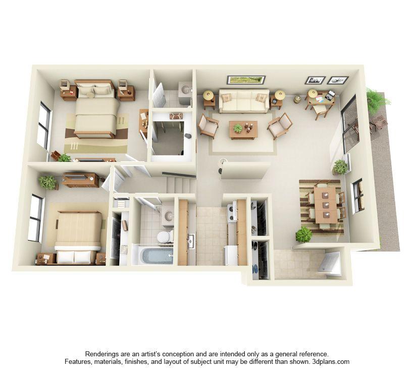 2 Bedroom 3d 33 Jpg 820 740 House Layout Plans Studio Apartment Floor Plans 3d House Plans