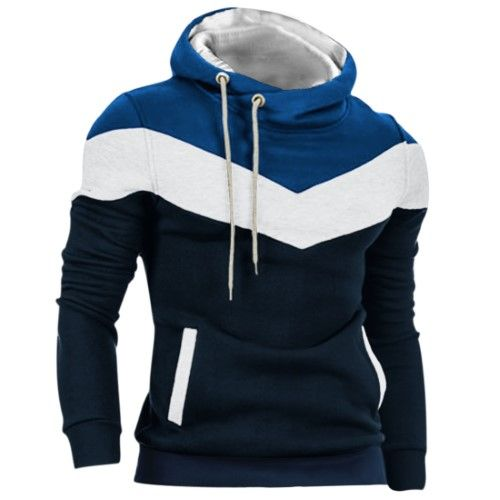 Hoody Collar Ribbed Cuff Color Block Casual Hoodie Navy Blue M for Men, Size: Medium