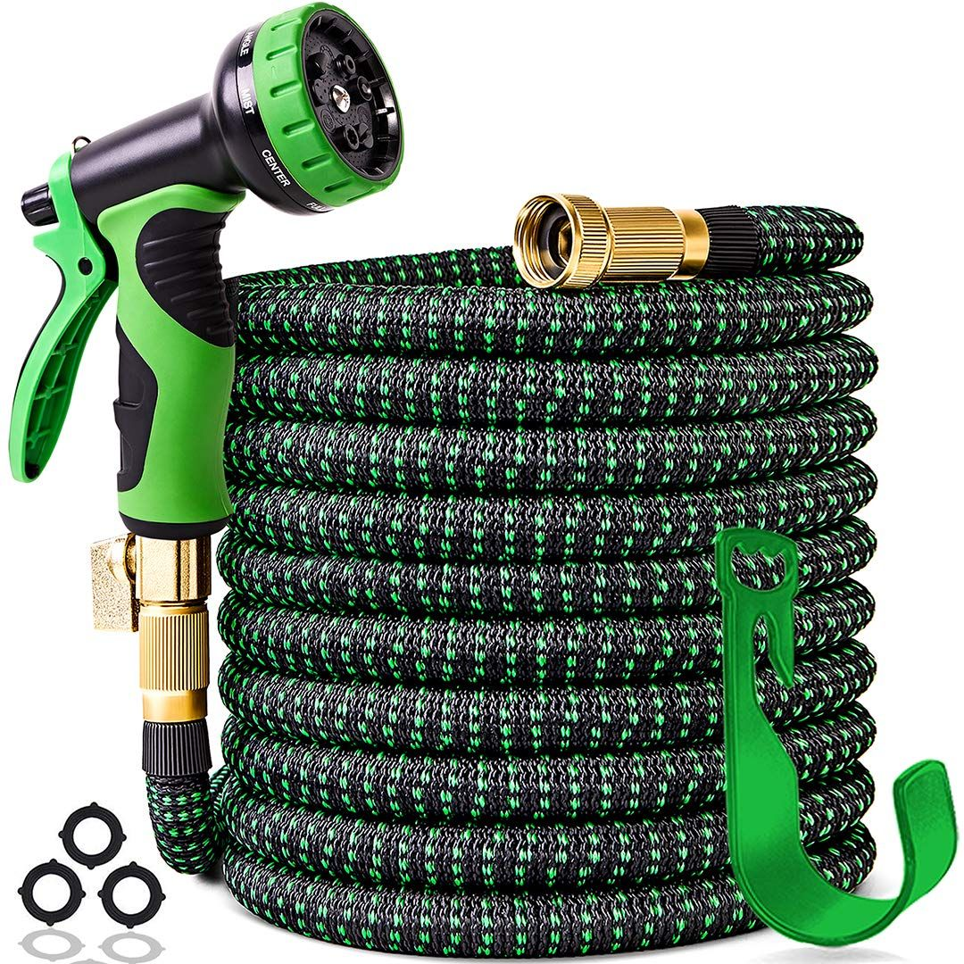 100 Ft Expandable Garden Hose Upgraded Leakproof Lightweight Garden Water Hose With 3 4 Solid Brass Garden Hose Spray Nozzles Garden Hose Garden Hose Storage