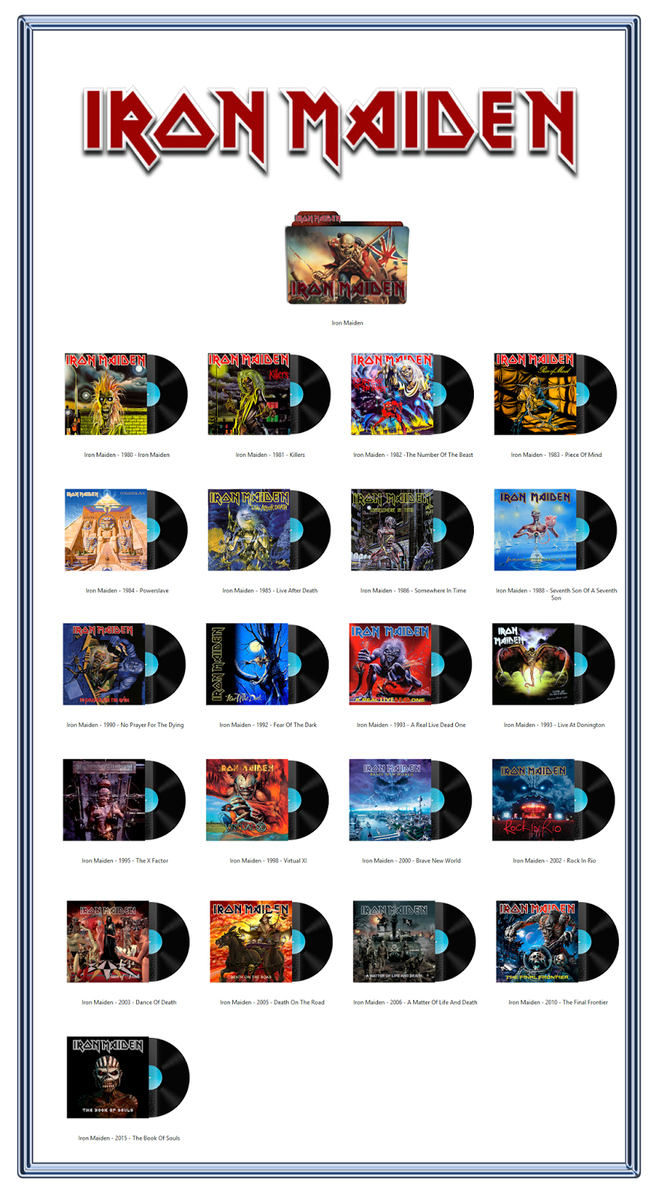 Iron Maiden Discography Icons Ico Png By Albumarticons Classic Rock Albums Rock Band Posters Iron Maiden Albums